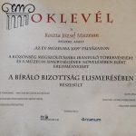 Elismerő Oklevél a Koszta múzeumnak