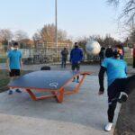 Teqball asztalon gyakorolhatnak a Kinizsi focistái